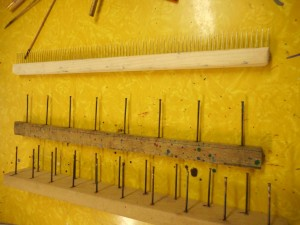 Regular comb on top, single rake, and double rake on the bottom